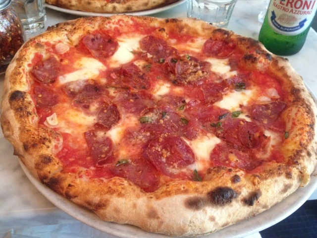 Soppressata Picante pie at Motorino. C. Nelson, 2013.