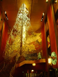 The holiday Swarovski crystal chandelier tree in the lobby. C. Nelson, 2013.