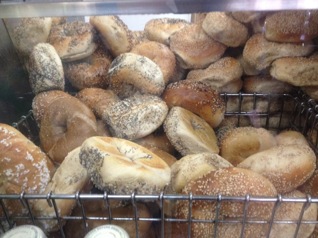 Bagels galore fresh out of the oven at Absolute on the Upper West Side. Craig Nelson, 2013.