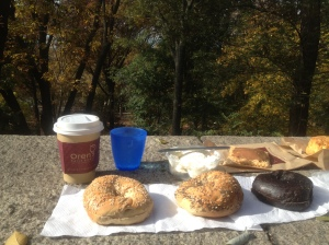Enjoying an Absolute Bagels morning snack in Riverside Park. Craig Nelson, 2013.