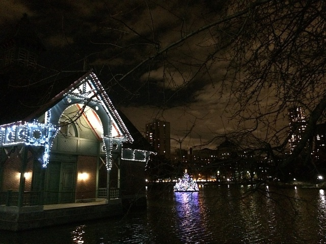 The Harlem Meer all lit up for the holidays.