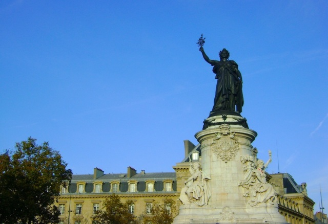Blue skies over Place de la République. Photo: Craig Nelson